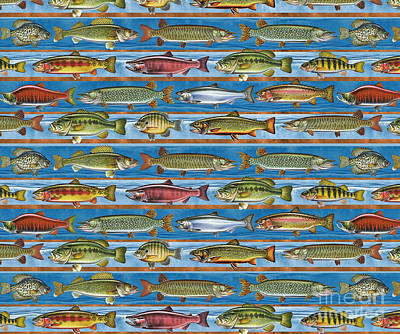 Musky Painting - Jqw Fish Row Pillow by Jon Q Wright