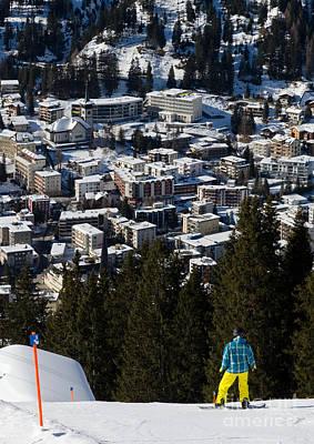 Jschalp Snowboarder Davos Town Jakobshorn Print by Andy Smy