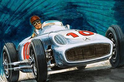 Car Drawing - Juan Manuel Fangio Driving A Mercedes-benz by English School