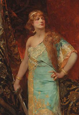 Silk Painting - Judith by Jean Joseph Benjamin Constant