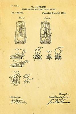 Zipper Photograph - Judson Zipper Patent Art 1893 by Ian Monk