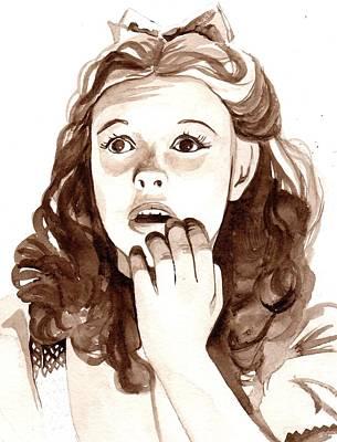 Judy Garland Painting - Judy Garland..kinda Scared by Janet Ritter Davies