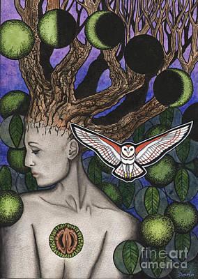 Sacred Feminine Moon Painting - Juglans Nigra by Antony Galbraith