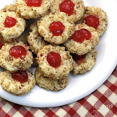 Cookies With Red Cherries Print by Susan Schroeder