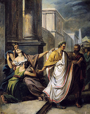 Julius Caesar 100-44 Bc On His Way To The Senate On The Ides Of March Oil On Canvas Study Print by Abel de Pujol