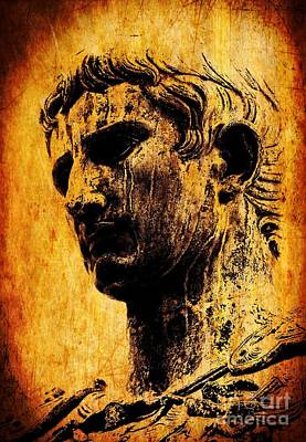 Statue Portrait Digital Art - Julius Caesar  by Mike Grubb