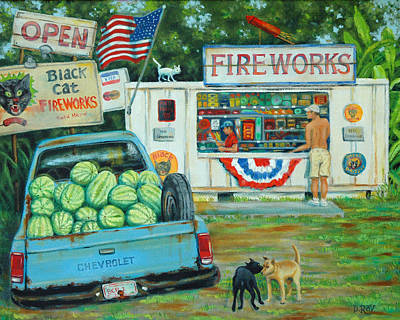 Fireworks Display Painting - July 3rd South Carolina by Dwain Ray