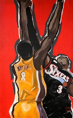 Lakers Painting - Jumpball by Patrick Ficklin