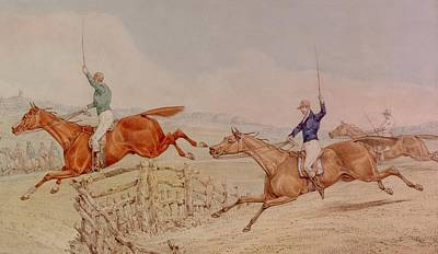 Jumping A Fence Print by Henry Thomas Alken