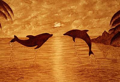 Jumping Dolphins At Sunset Print by Georgeta  Blanaru