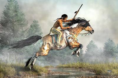 Pinto Digital Art - Jumping Horse by Daniel Eskridge