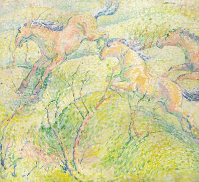 Pointillist Painting - Jumping Horses by Franz Marc