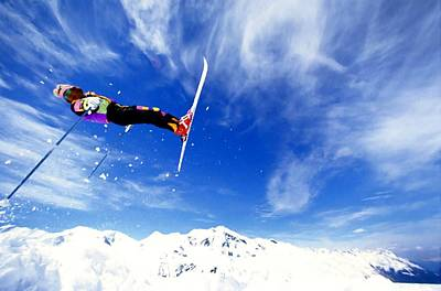 Blue Painting - Jumping Skier by Lanjee Chee