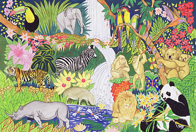 Jungle Animals Wc Print by Tony Todd