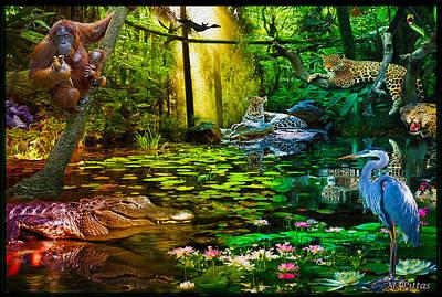 Stork Mixed Media - Jungle Dream 2 by Michael Pittas