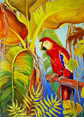 Jimmy Buffett Painting - Jungle Flame by JAXINE Cummins