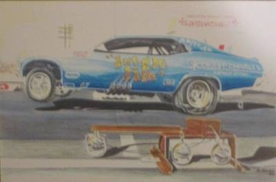 Jungle Jim Liberman's 1969 Nova Funny Car Print by Russell Boothe