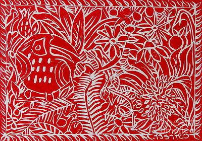 Jungle Scene With Toucan Red On White Print by Caroline Street