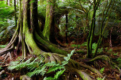Tree Roots Digital Art - Jungle Trunks2 by Les Cunliffe