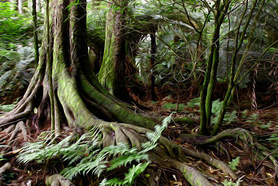 Tree Roots Digital Art - Jungle Trunks3 by Les Cunliffe