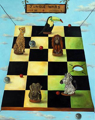 Zebra Painting - Jungle Wars Edit 1 by Leah Saulnier The Painting Maniac