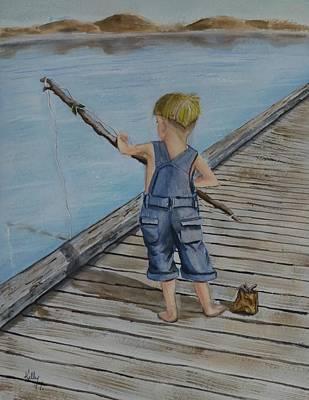Juniors Amazing Fishing Pole Print by Kelly Mills