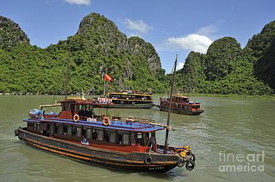 Junk Boats In Halong Bay Print by Sami Sarkis