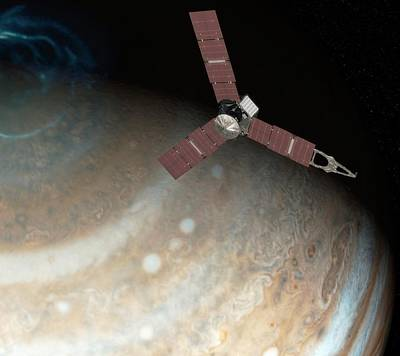Juno Spacecraft At Jupiter Print by Nasa/jpl-caltech