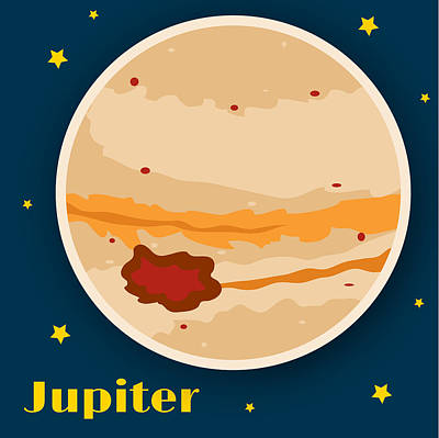 Outer Space Drawing - Jupiter by Christy Beckwith
