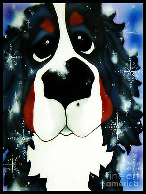 Dogs In Snow Painting - Just 5 More Minutes by Maggie Brudos