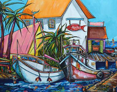 Boxes Painting - Just A Little Beach Town by Patti Schermerhorn