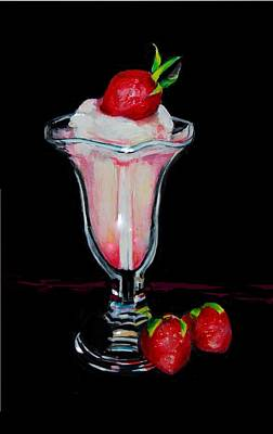 Strawberry Sundae Drawing - Just Another Sundae by Jean Cormier