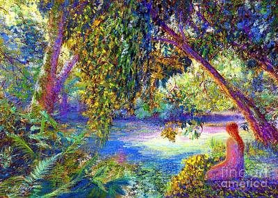 Nature Scene Painting -  Meditation, Just Be by Jane Small