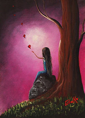 Heart Images Painting - Just Beneath The Moonlight Original Art by Shawna Erback