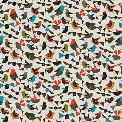 Just Birds China White Print by Sharon Turner