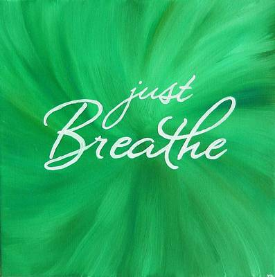 Buddhist Painting - Just Breathe - Green by Michelle Eshleman