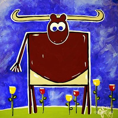 Steer Painting - Just Bull Texas Longhorn  by Jackie Carpenter