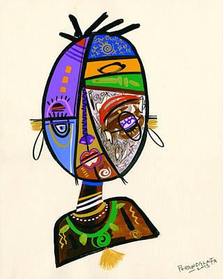 Contemporary Tribal Art Painting - Just Me by Oglafa Ebitari Perrin