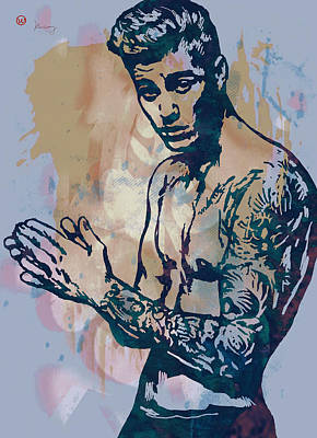 Stylized Mixed Media - Justin Bieber Pop Art Etching Portrait by Kim Wang
