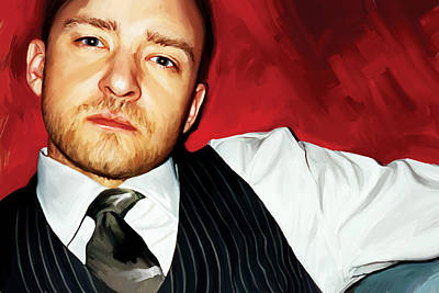 Singer-songwriter Mixed Media - Justin Timberlake Artwork by Sheraz A