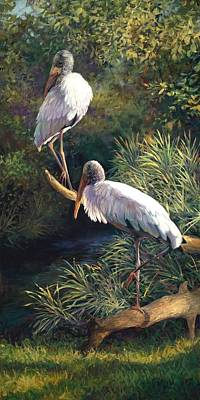 Juvenile Woodstorks Original by Laurie Hein