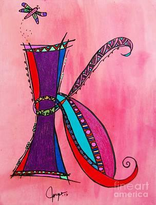 Fairy Hearts Pink Flower Painting - 'k' Monogram by Joyce Auteri