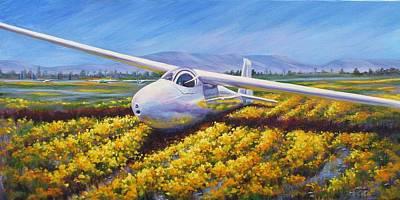 Soaring Painting - Ka6cr Sailplane by Gabriele Baber