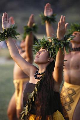 Hawaii Photograph - Kahiko Hula Dancers by Allan Seiden - Printscapes