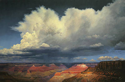 Storm Clouds Painting - Kaibab Trail Storms by John Cogan