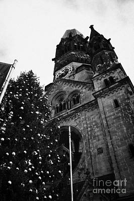 Kaiser Wilhelm Gedachtniskirche Memorial Church And Christmas Tree Berlin Germany Print by Joe Fox