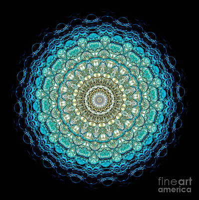 Mandala Photograph - Kaleidoscope Aquamarine Bubbles by Amy Cicconi