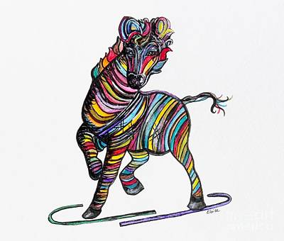 Art Spotlight Mixed Media - Kaleidoscope Zebra -- Baby Strut Your Stuff  by Eloise Schneider