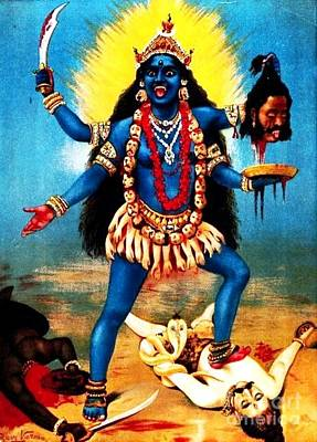 Indian Cultural Painting - Kali - Trampling Shiva by Pg Reproductions
