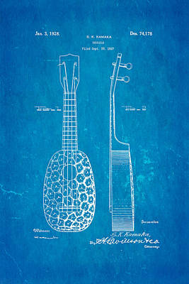 Ukulele Photograph - Kamaka Ukulele Patent Art 1928 Blueprint by Ian Monk